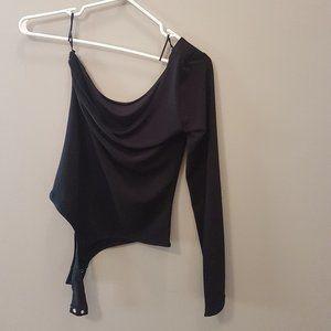 Black One Shoulder Long Sleeve Bodysuit